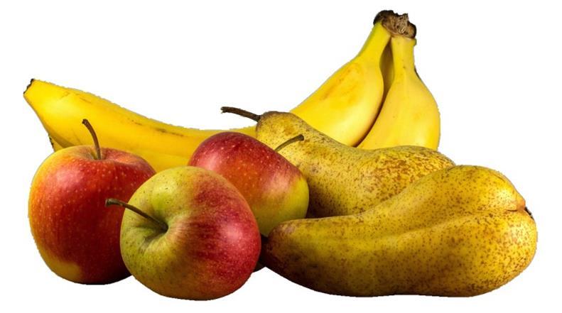 El plátano para los perros, fresas, manzana y piña