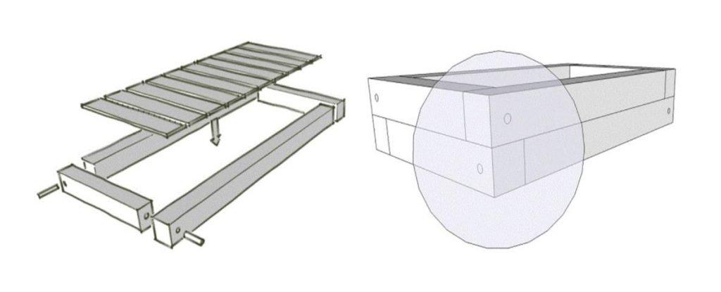 estructura jardinera de madera